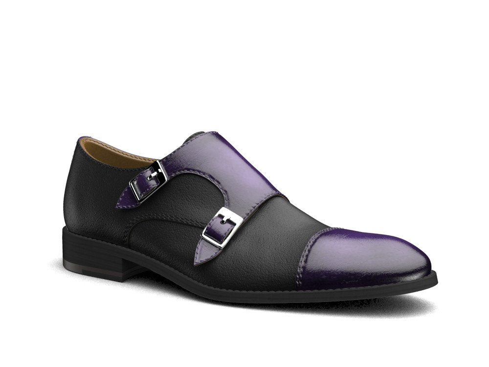 black calf violet polished leather men double monk