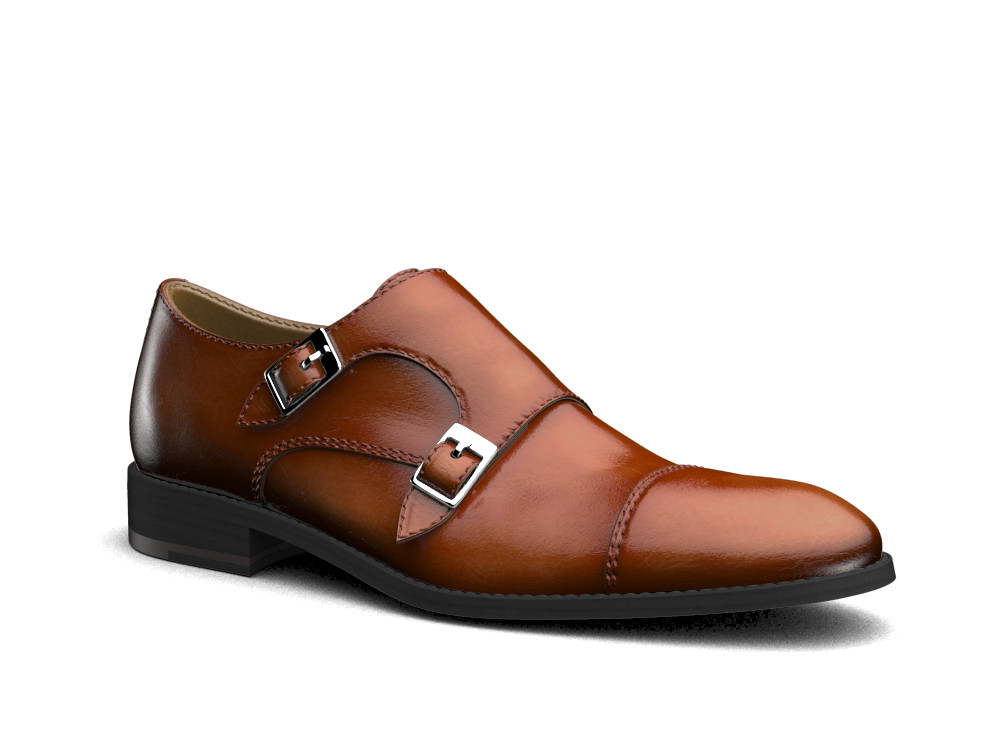 brown polished leather men double monk