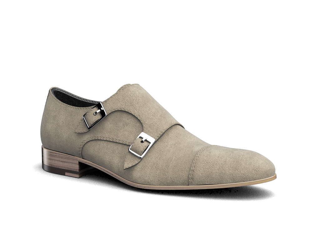 sand suede leather men double monk