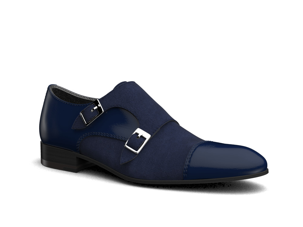 blu suede shiny leather men double monk