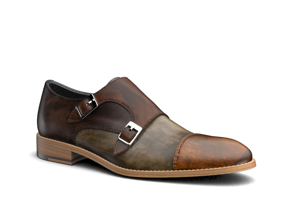 multicolour deco leather men double monk