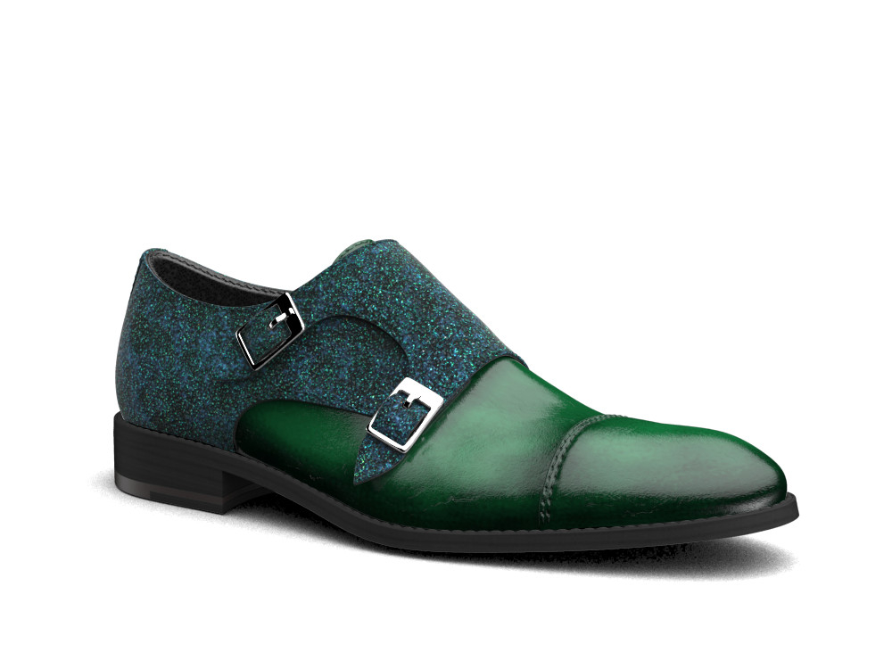 green stardust polished leather men double monk