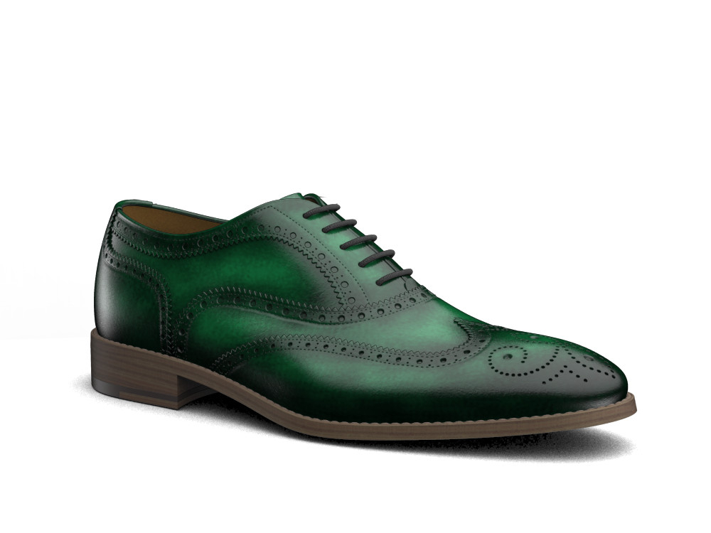 green polished leather men oxford wing brogue