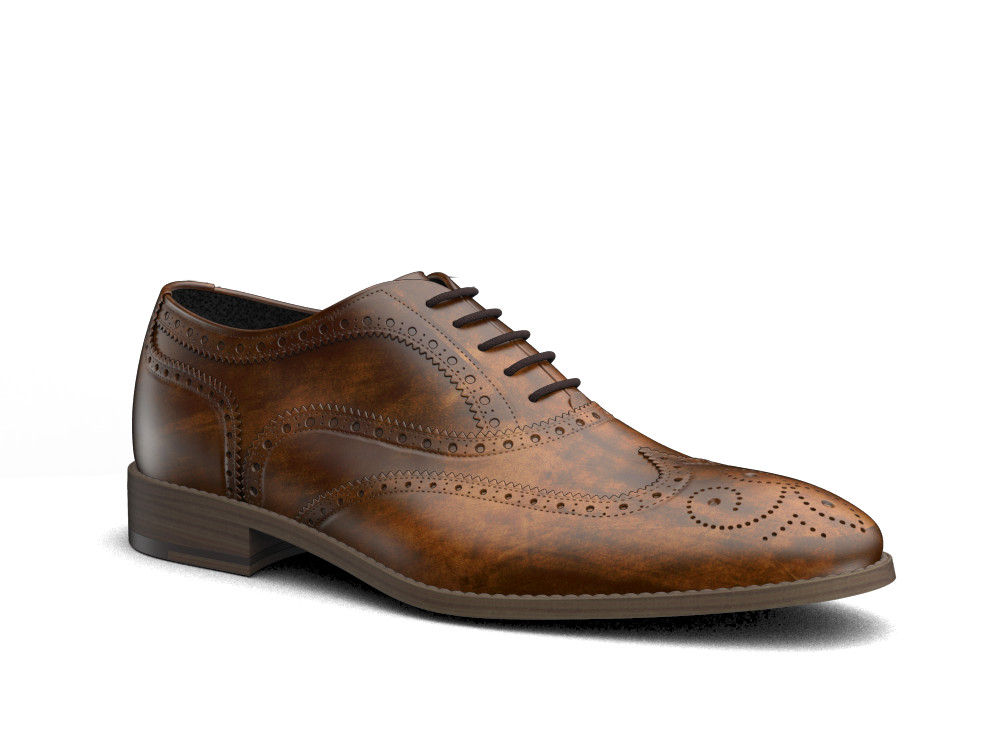 tan deco leather men oxford wing brogue