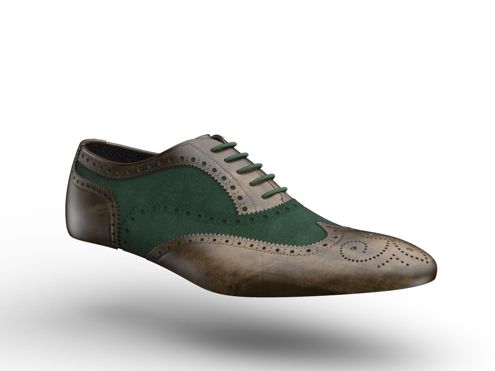 olive decò leather men oxford wing brogue