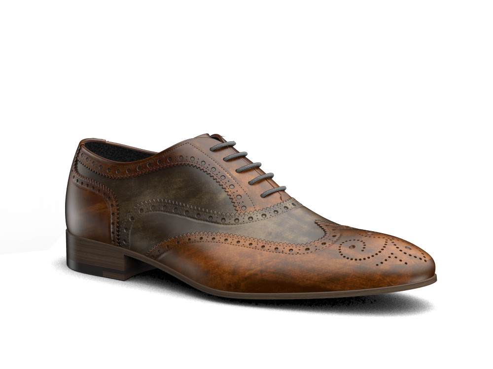 tan olive deco leather men oxford wing brogue