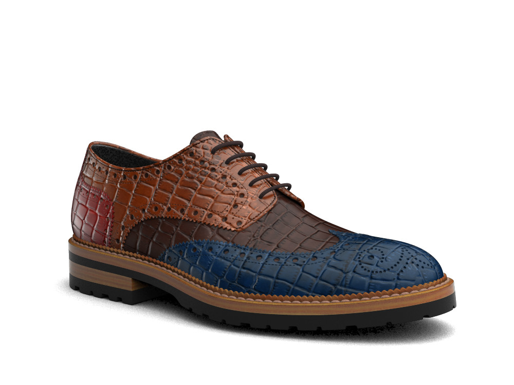 multicolour crocodile printed leather men derby wing brogue