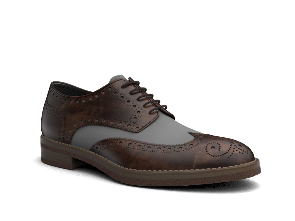 two-material deco leather denim men derby wing brogue