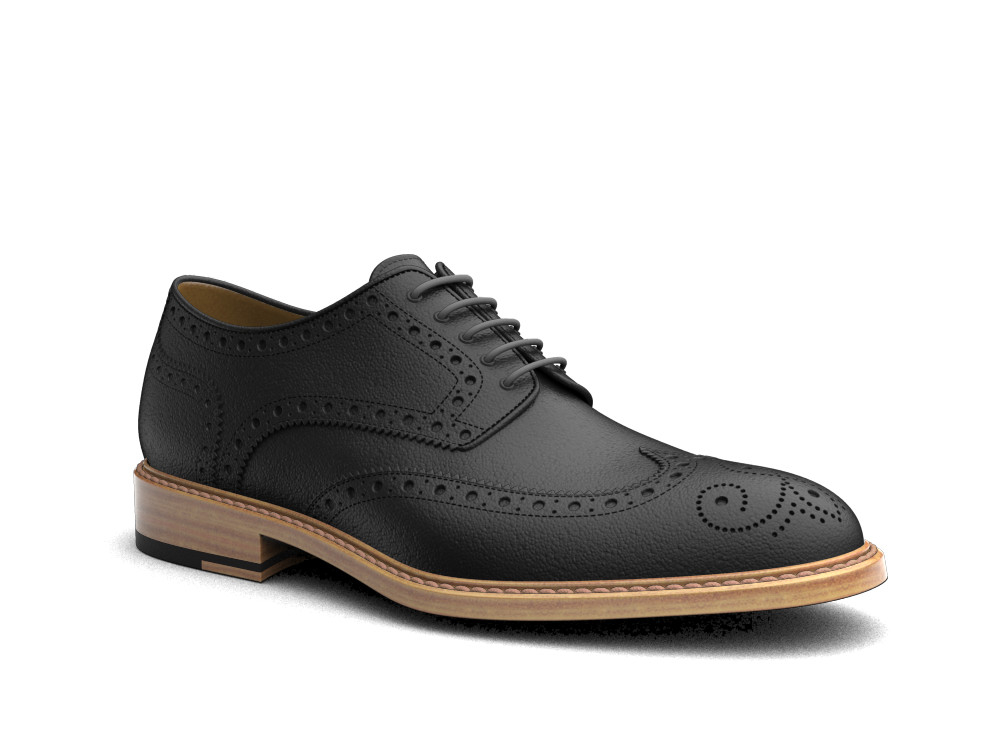 black calf leather men derby wing brogue