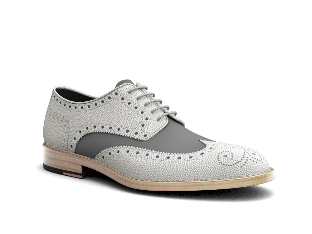 white pebble grain denim men derby wing brogue