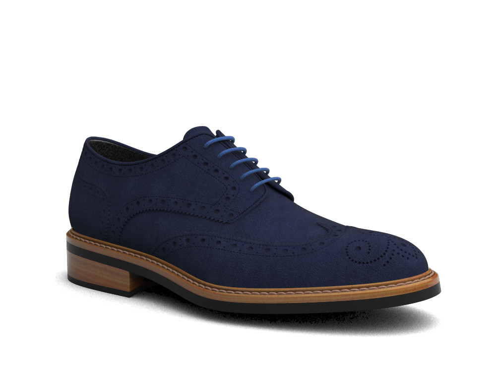 navy suede leather men derby wing brogue