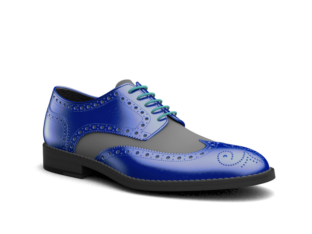 blue laminated stardust leather men derby wing brogue