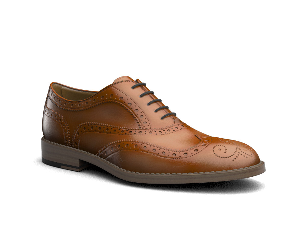 brown polished leather men oxford wing brogue