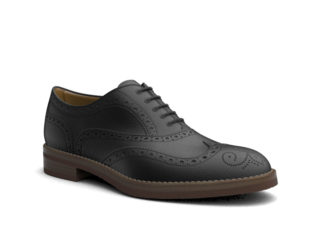 black shiny leather men oxford wing brogue