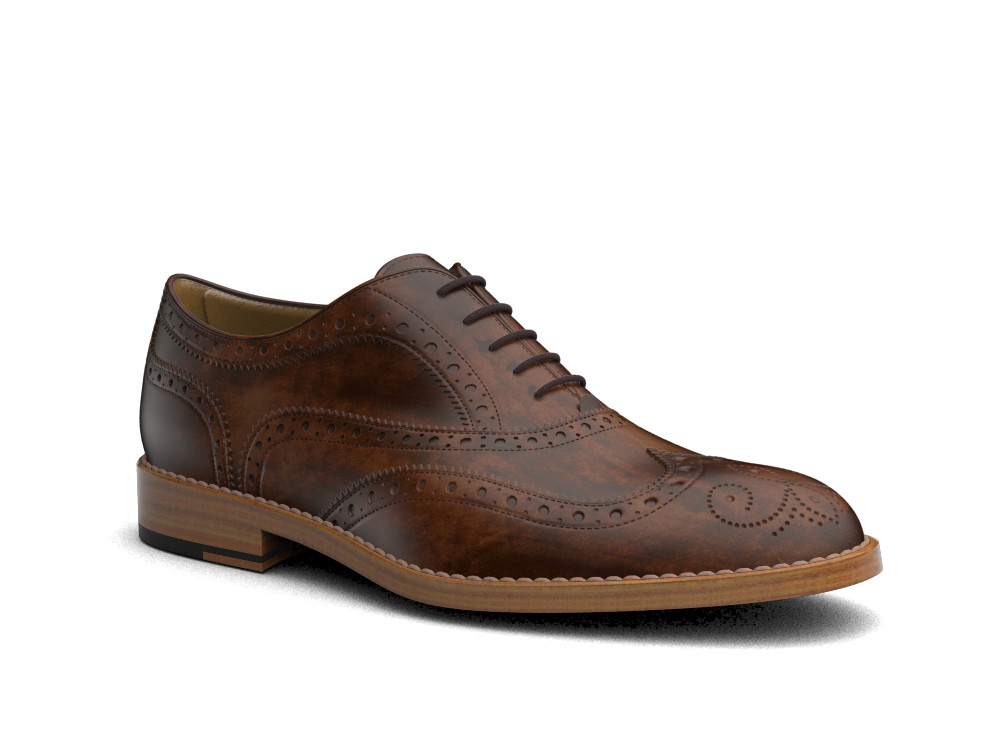 brown decò men oxford wing brogue