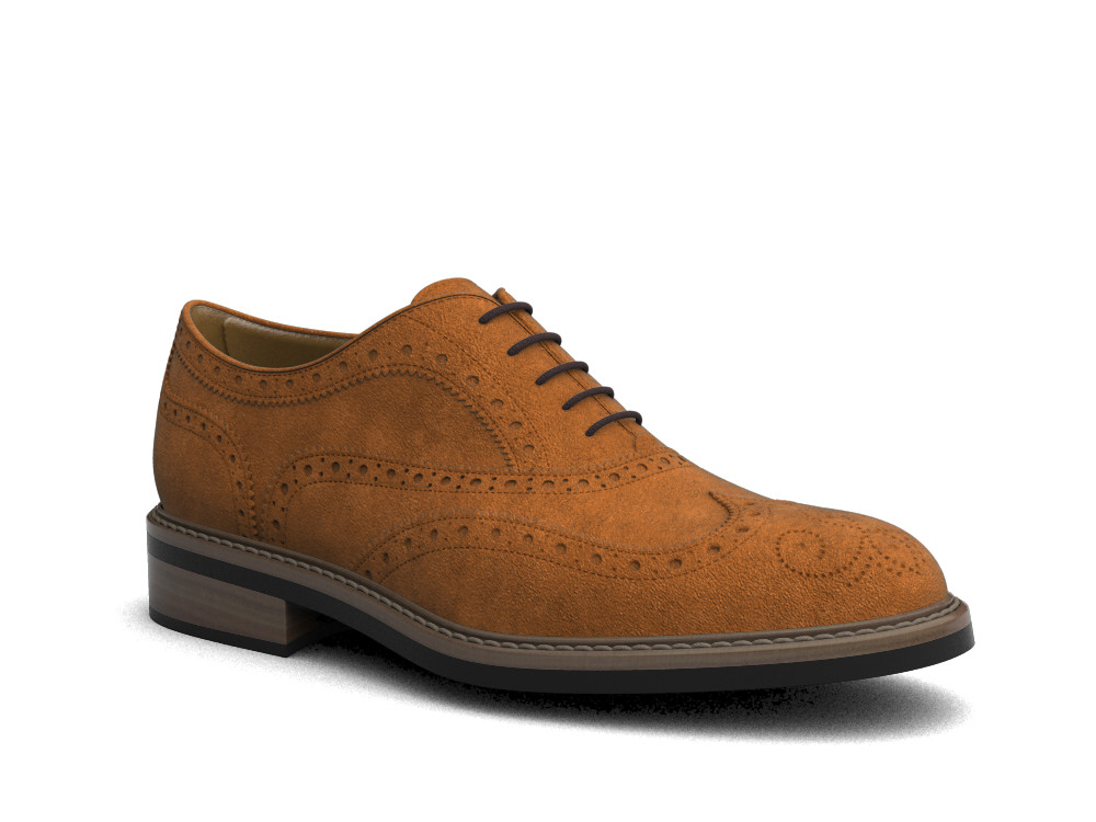 brown suede leather men oxford wing brogue