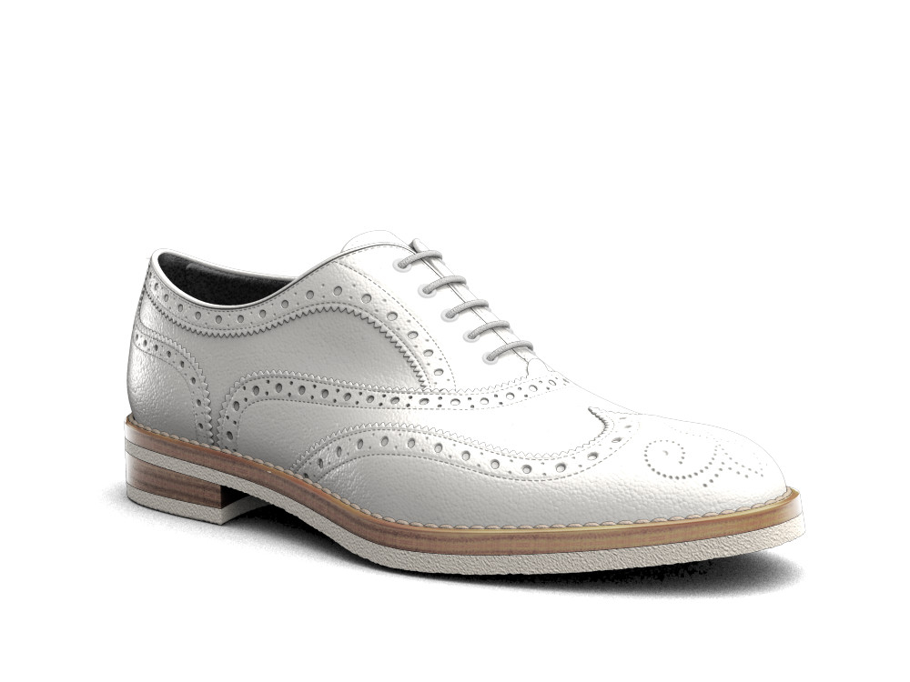 white calf leather men oxford wing brogue