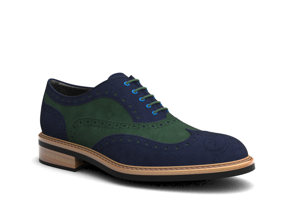 blue green suede leather men oxford wing brogue