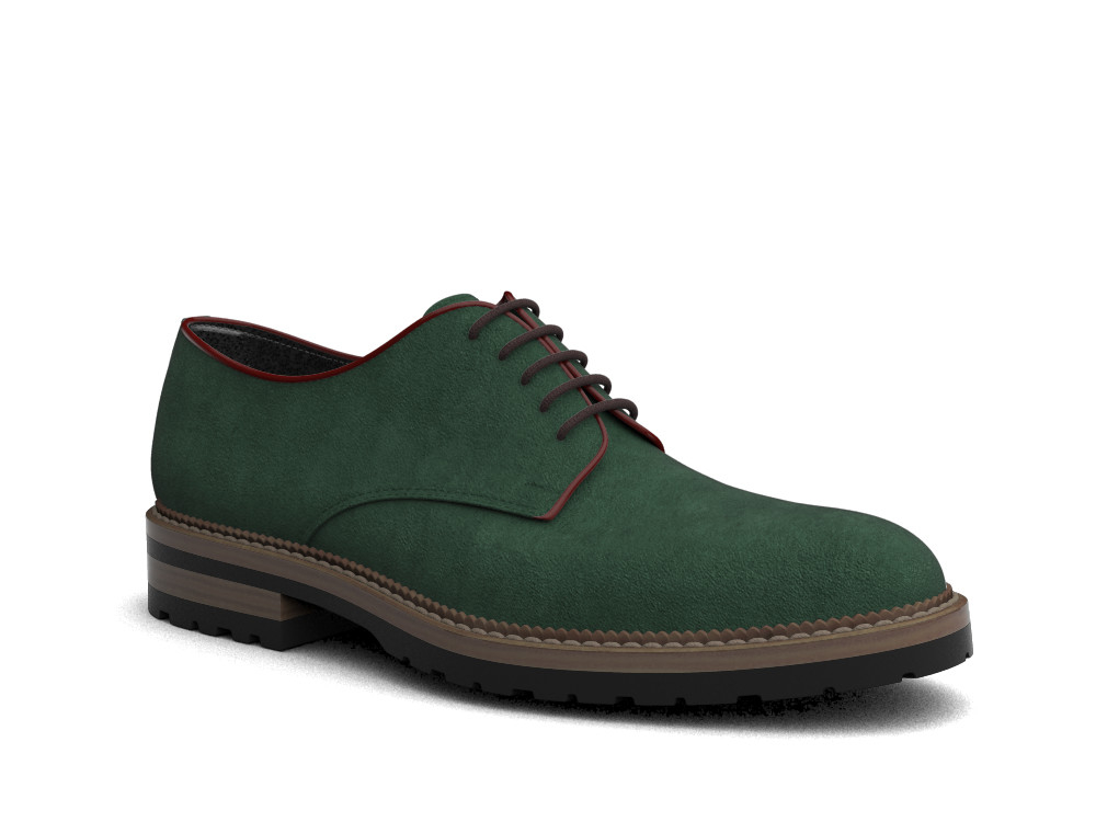 green suede leather men derby plain