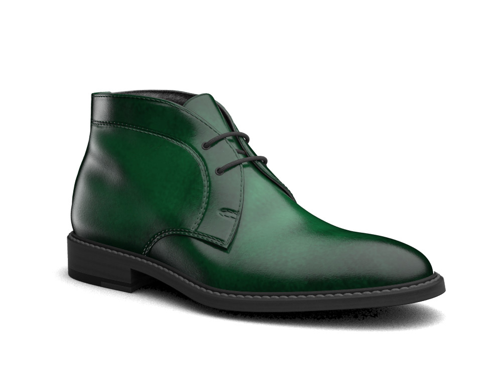 green polished leather men desert boot