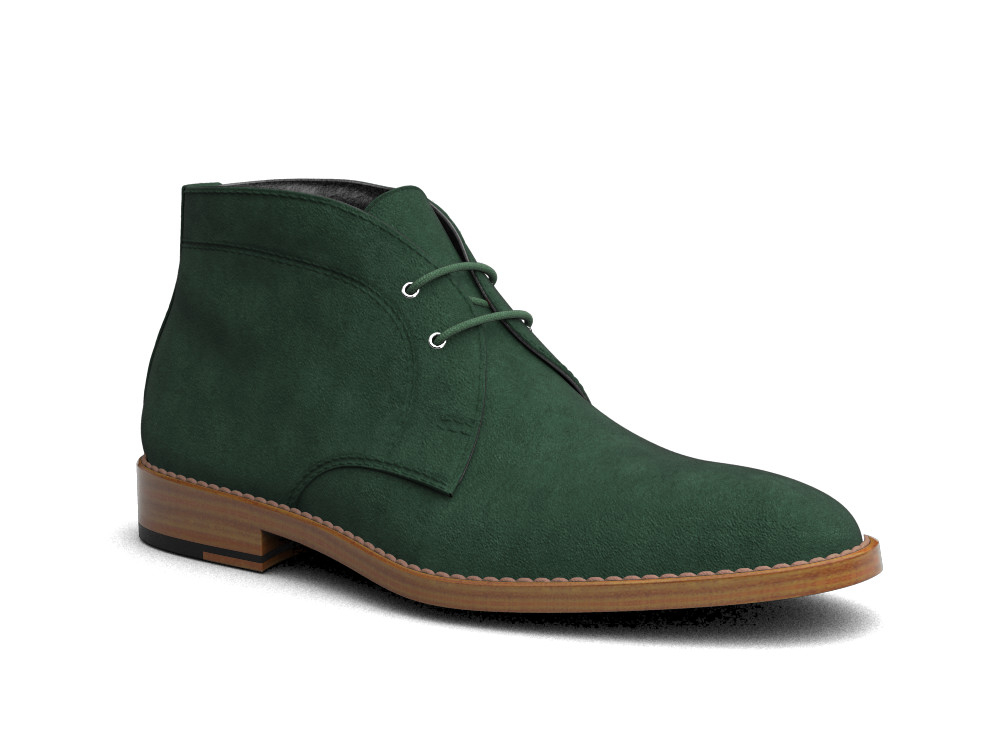 green suede leather men desert boot
