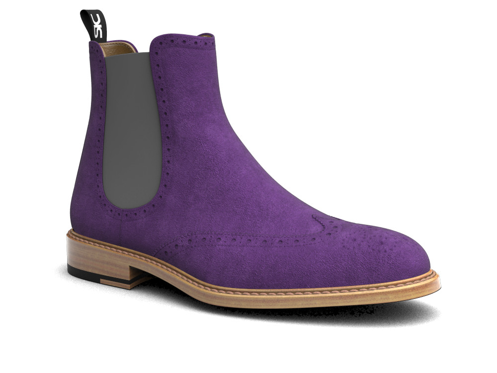 purple suede leather men chelsea boot wing brogue