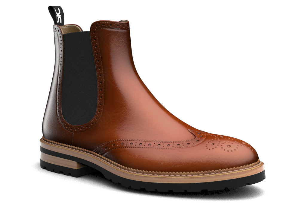 brown polished leather men chelsea boot