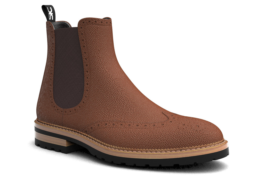 tan pebble grain leather men chelsea boot