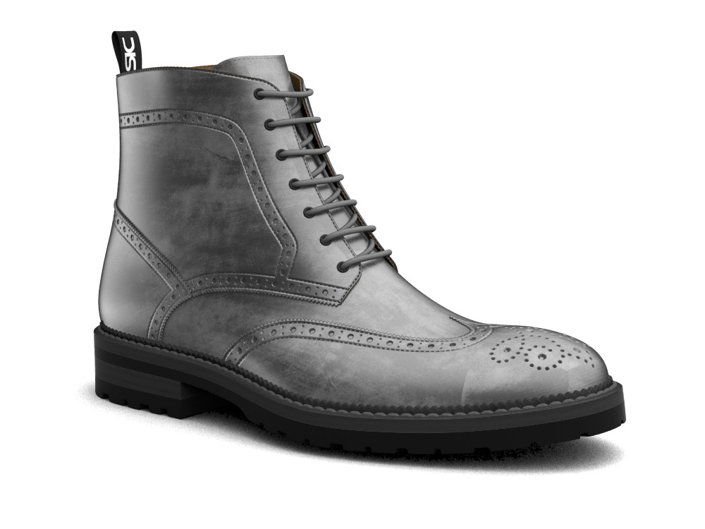 grey decò leather men ankle wing brogue