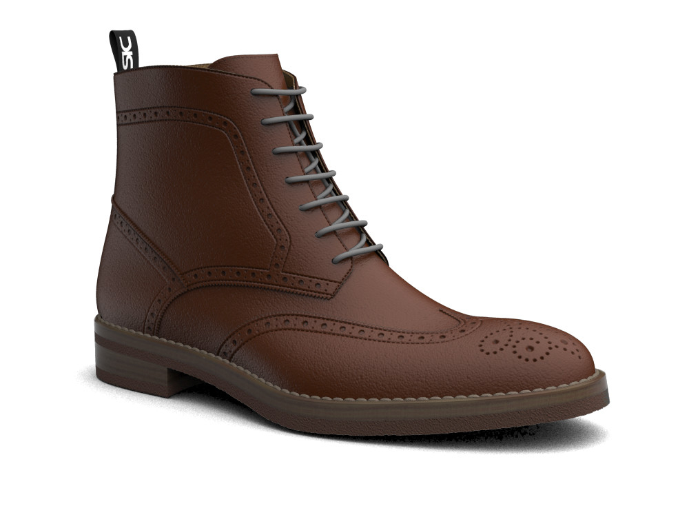 brown calf leather men ankle wing brogue