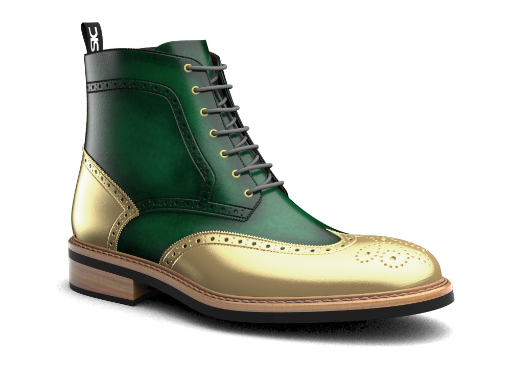 green polished leather ankle wing brogue