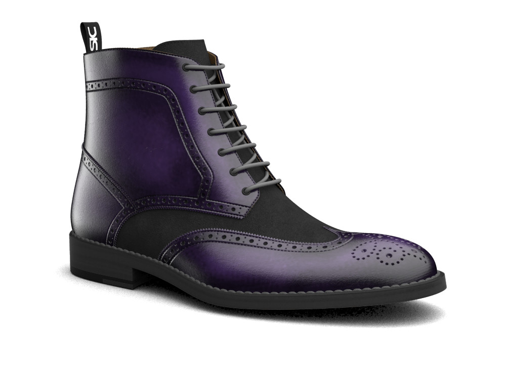 violet polished leather men ankle wing brogue