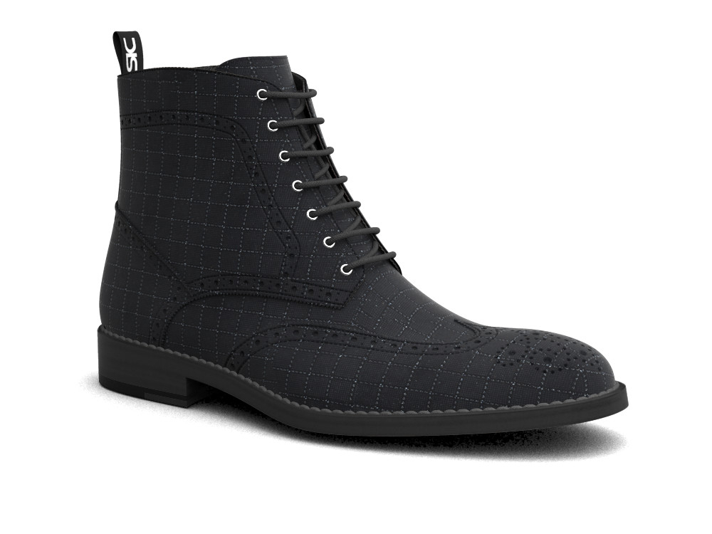 black pattern leather men ankle wing brogue boots