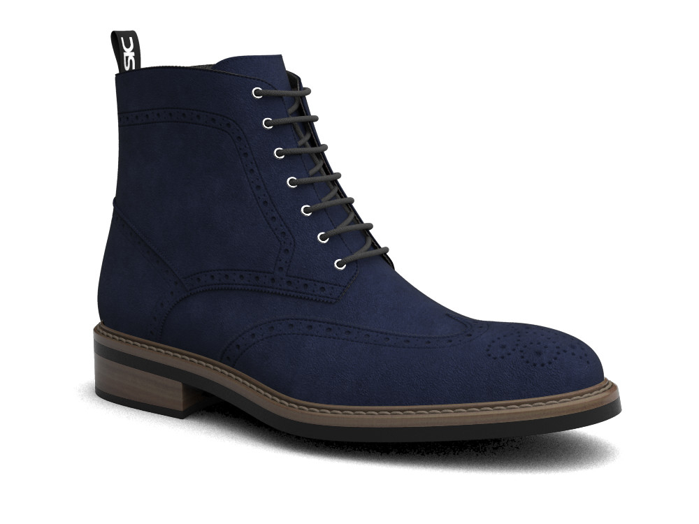 navy suede leather men ankle wing brogue boots