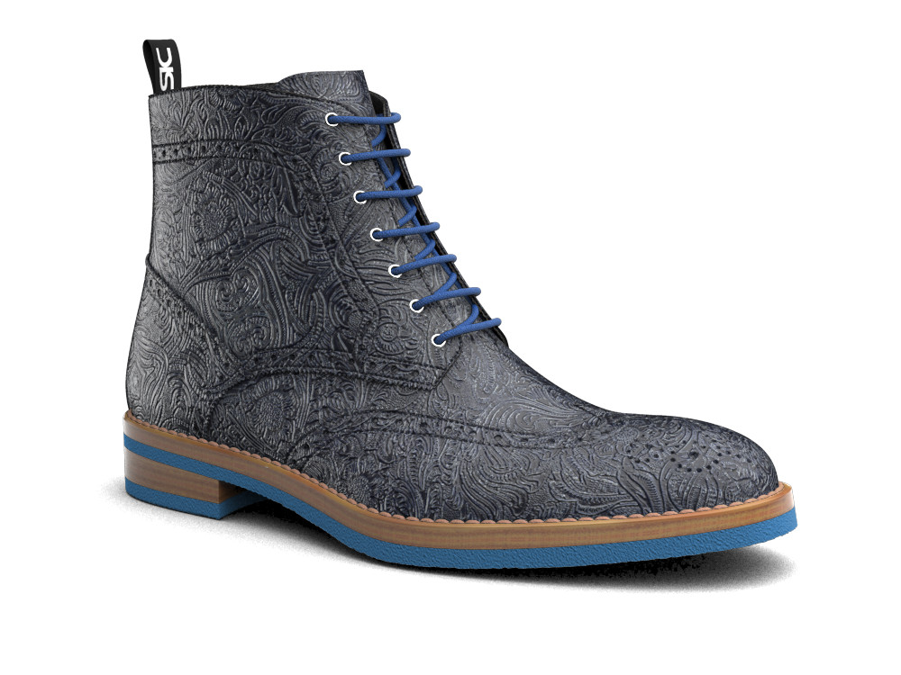 blue damask pattern leather men ankle wing brogue boots