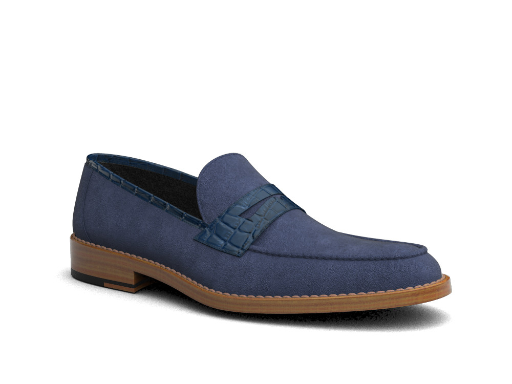 indigo suede crocodile printed leather men loafer