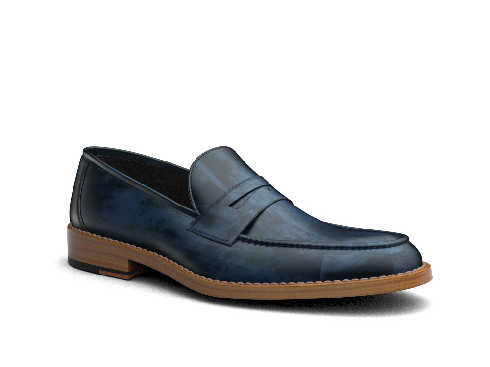 navy deco leather men loafer