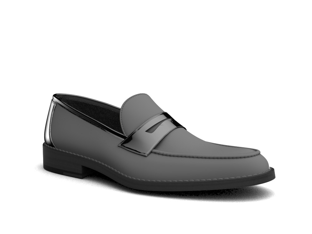 black pattern leather men loafer