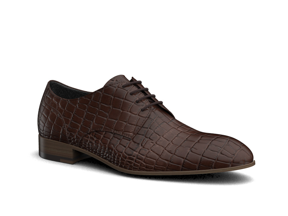 coffee crocodile printed leather men derby shoes
