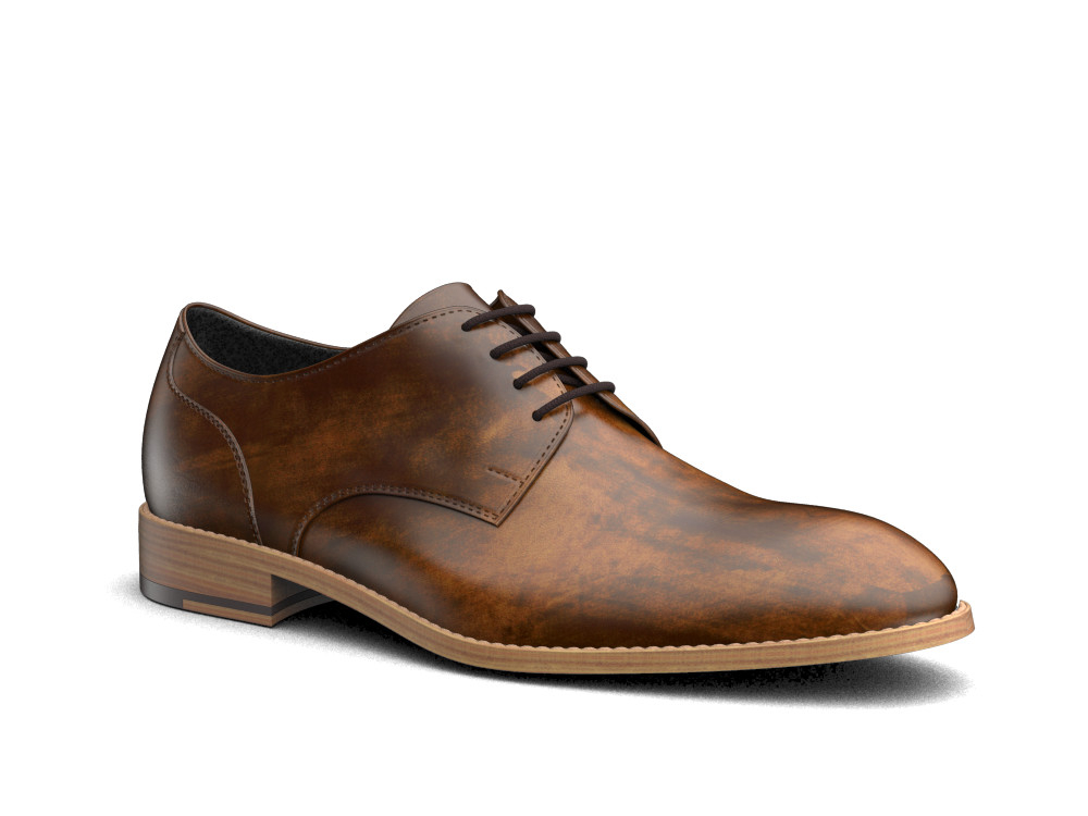 tan deco leather men derby shoes