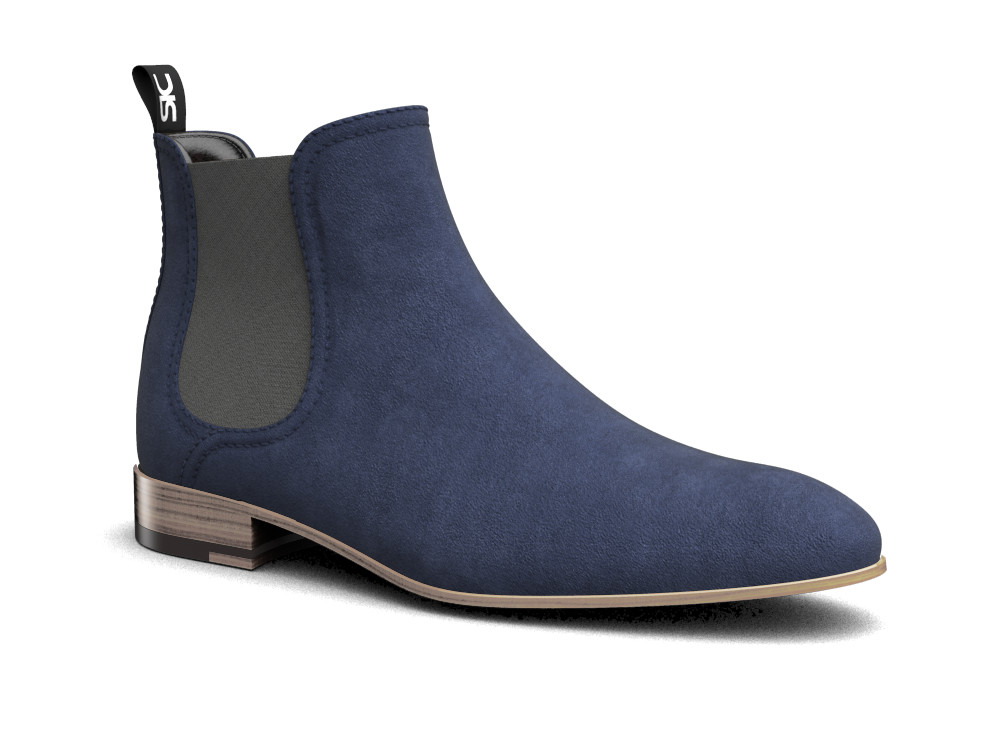 blue suede leather men chelsea boot