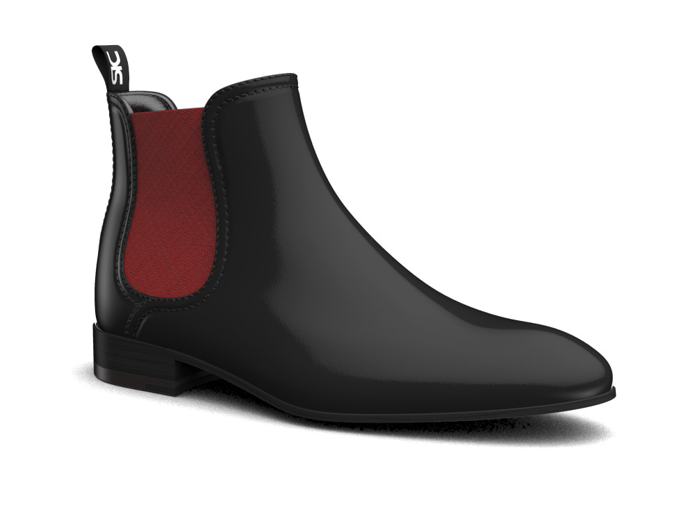 black shiny book leather men chelsea boot