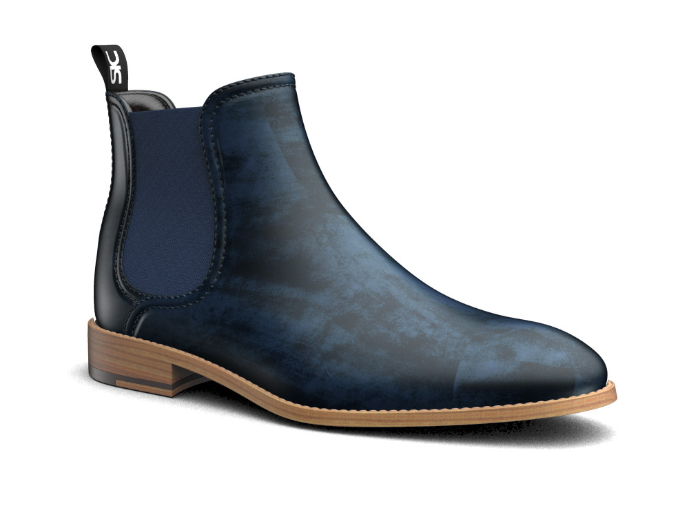blue deco leather men chelsea boot
