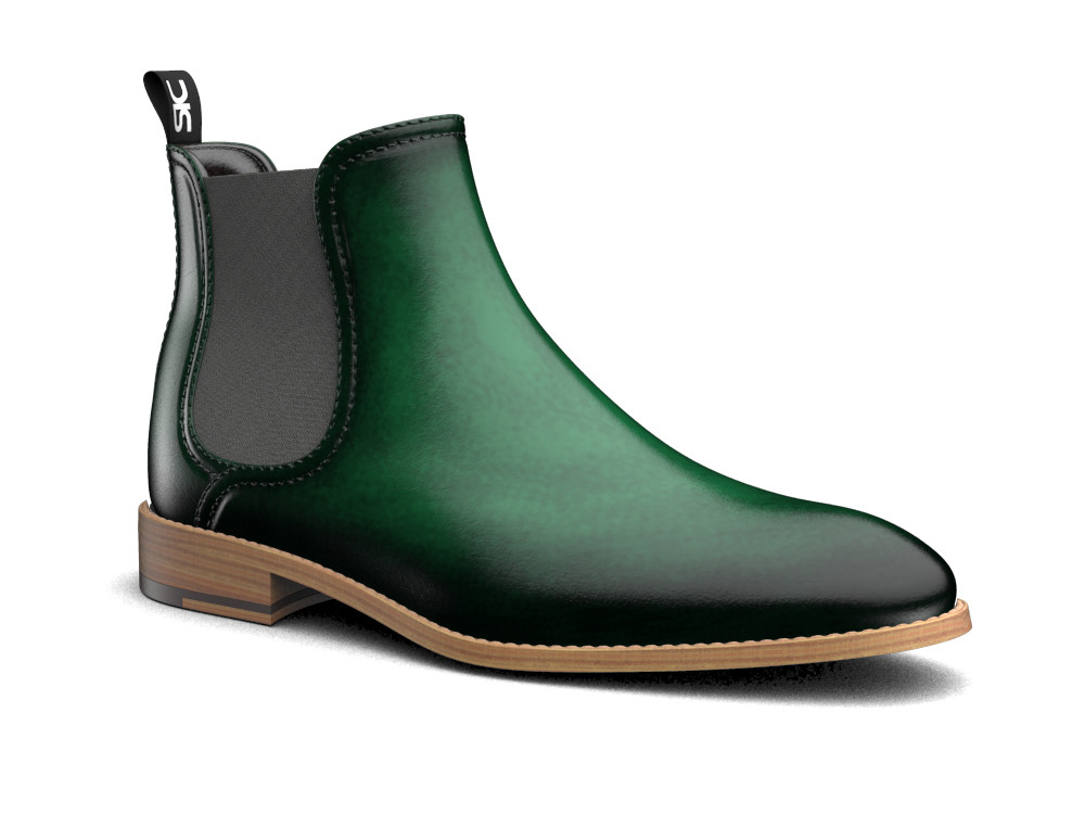 green polished leather men chelsea boot