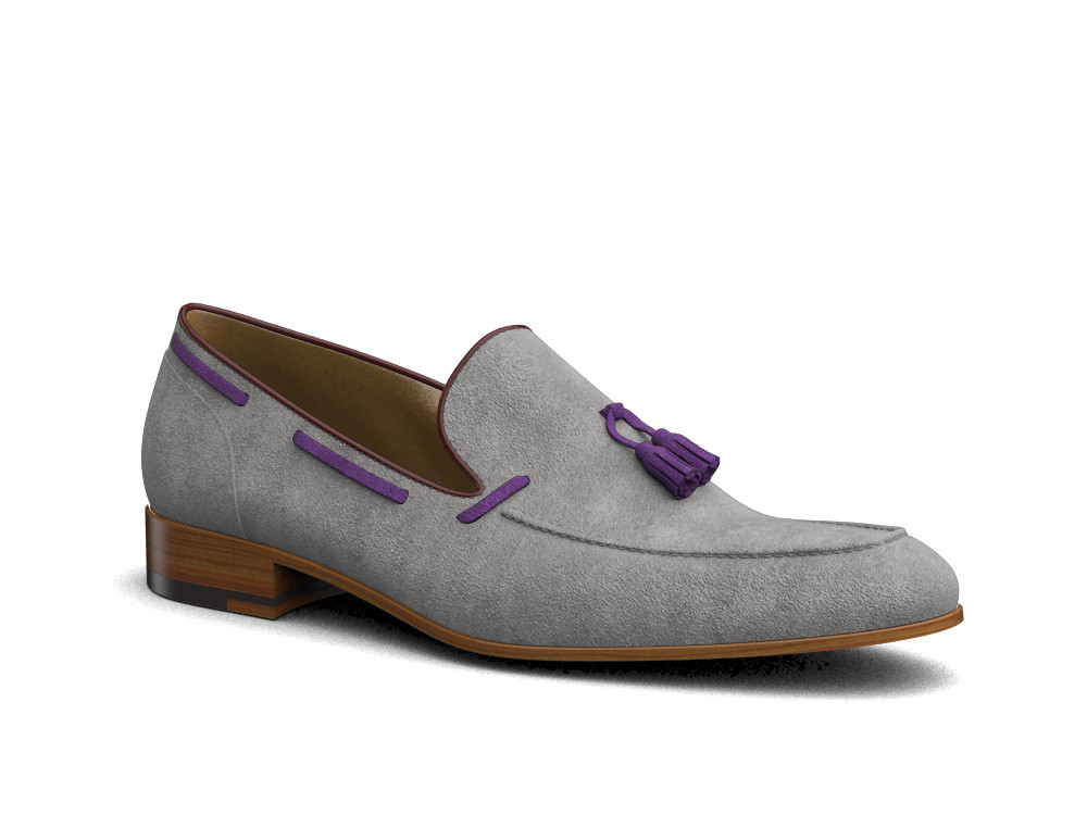 gray suede men tassel loafer