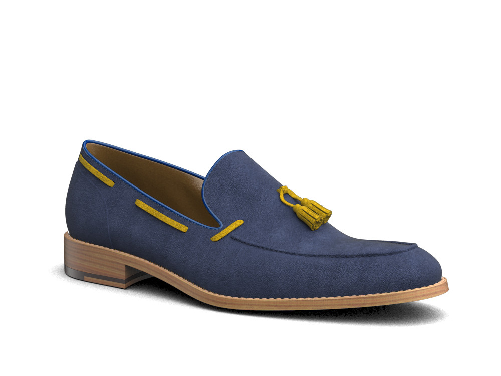 indigo suede leather men tassel loafer