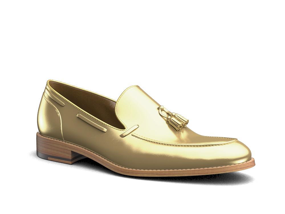 shiny gold leather men tassel loafer