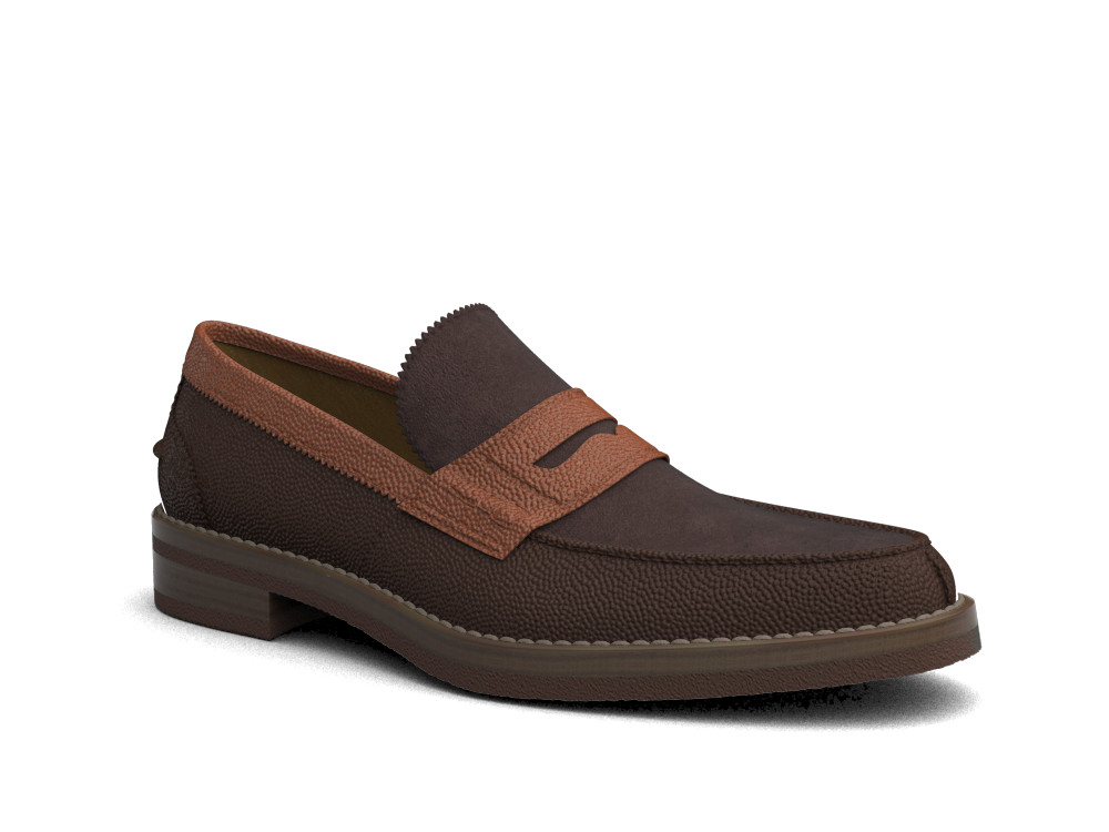 multicolour suede pebble grain leather men college