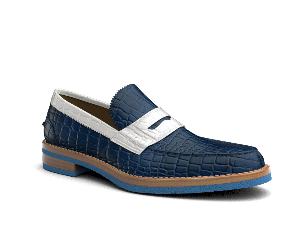 blue white crocodile print leather men college