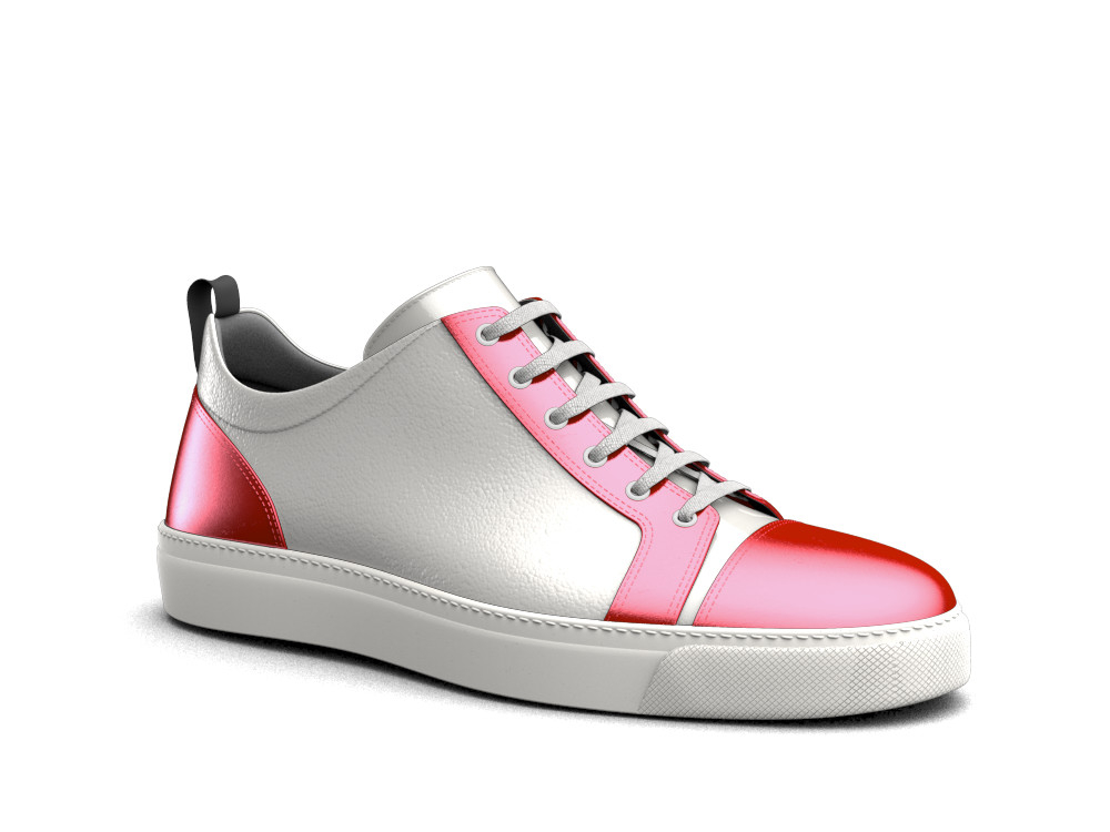 white red leather woman low top sneaker